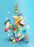 Fototapety A tower of books with reading people.  Educational concept. Online library. Online education isometric flat design on blue background. Vector illustration