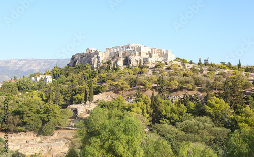 Poster Athene landscape of Parthenon Acropolis as seen from Thissio Athens Greece
