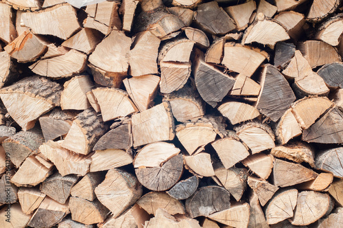 Poster Brandhout textuur Stacked firewood
