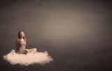 Woman sitting on a cloud with plain bakcground - 175645858