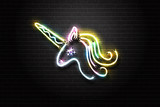 Vector realistic isolated neon retro sign of unicorn for decoration and covering on the wall background. - 175646204