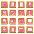Office furniture icons pink