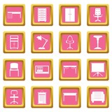 Office furniture icons pink - 175649204