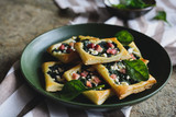 Savoury spinach cakes with bacon and Feta cheese - 175651612