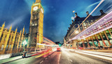 Westminster Bridge at night with cars speeding up - London - 175653881