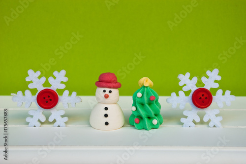 New year background with snowflakes, new year tree and snowman on green wall Poster