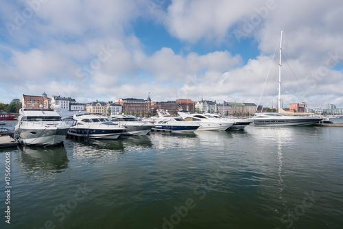 Power boats in the harbor in Helsinki Poster