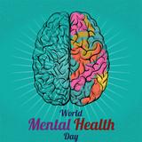 World Mental Health Day, 10 October. Human brain conceptual illustration vector. - 175660818
