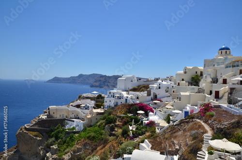 Foto op Aluminium Santorini CALDEIRA ET VILLAGE D'OIA SANTORIN CYCLADES GRECE