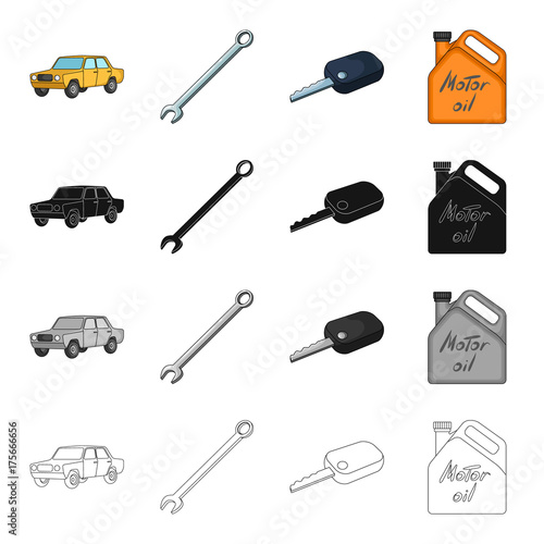 Poster Yellow car, wrench, ignition key, canister of engine oil. Car and accessories set collection icons in cartoon black monochrome outline style vector symbol stock Isometric illustration web.