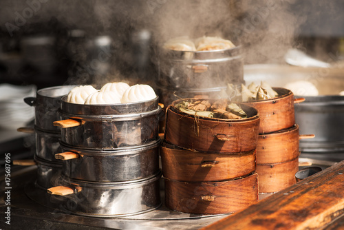 Steam food in a street market in Chengdu, China Poster