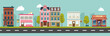City street and store buildings vector illustration, a flat style design. - 175691033