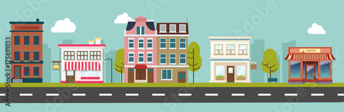 City street and store buildings vector illustration, a flat style design.