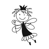 Cute Little Fairy Sketch For Your Design Wall Sticker