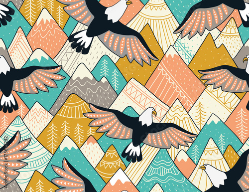 Materiał do szycia Ethnic seamless pattern with with mountains and eagles. Bright ornamental vector background for fabric, wrap paper and wallpaper.