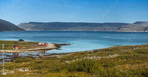 Spoed canvasdoek 2cm dik Blauw Northern Norway landscape. Finnmark