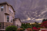Stormy Sky over Homes in Suburban Neighborhood - 175698222