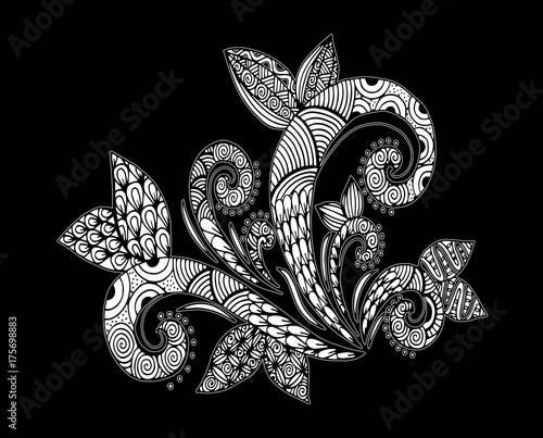 Spoed canvasdoek 2cm dik Vlinders in Grunge Doodle floral pattern in black and white. Page for coloring book: very interesting and relaxing job for children and adults. Zentangle drawing. Flower carpet in magic garden