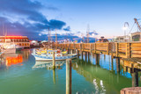 SAN FRANCISCO - AUGUST 6, 2017: Beautiful view of Fishermen Wharf port. The city attracts 20 million people annually - 175702020