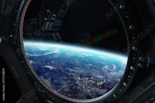 View of planet Earth from a space station window 3D rendering elements of this image furnished by NASA