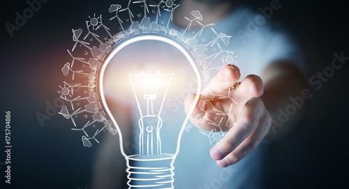 Businessman touching renewable eco lightbulb sketch