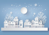Winter Snow Urban Countryside Landscape City Village with ful lmoon - 175708048