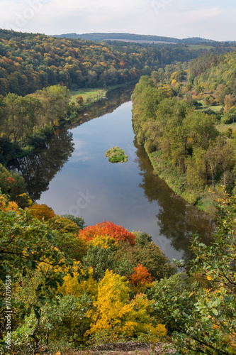 Tuinposter Herfst Autumn river Berounka in central Bohemia, Czech republic