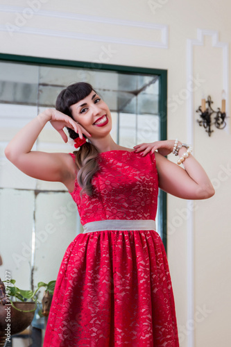 Pinup girl with red dress Poster