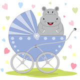 Greeting card cute hippo is sitting on a carriage on a hearts background. Illustration done in cartoon style.   - 175717010