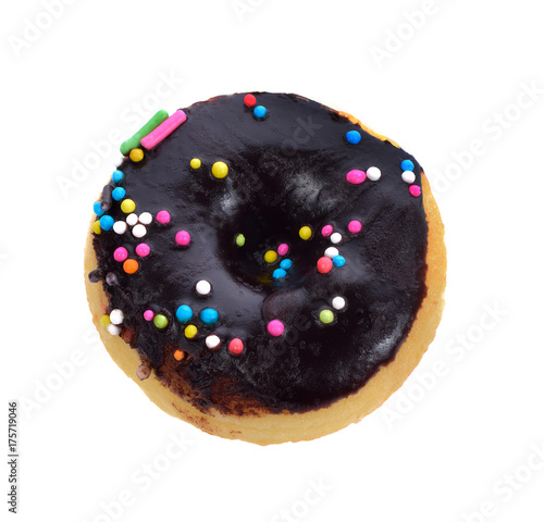chocolate donut isolated on white background Poster