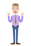 Businessman showing Rock and Roll sign - 175720871