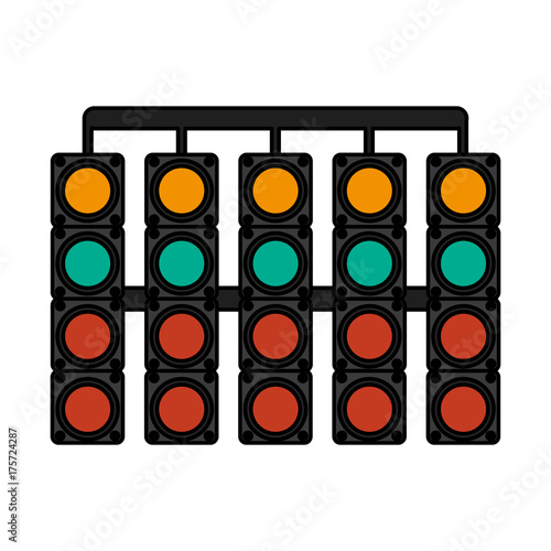 Fotobehang F1 start line lights car racing related icon image vector illustration design