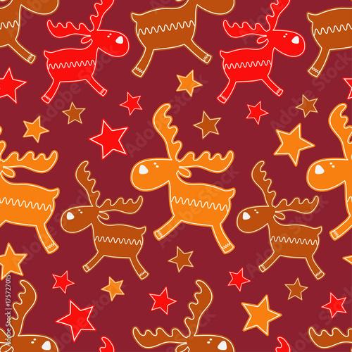 Fotobehang Hipster Hert Christmas Gingerbread reindeer. Seamless background. Gingerbread pattern. Cute cartoon Gingerbread. Textile rapport.