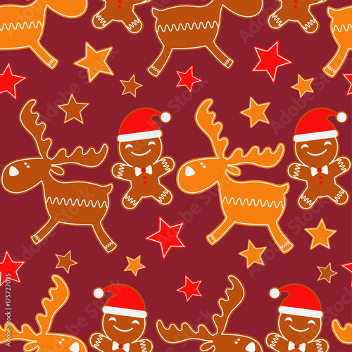 Fotobehang Hipster Hert Christmas Gingerbread reindeer. Seamless background. Gingerbread pattern. Cute cartoon Gingerbread. Textile rapport.