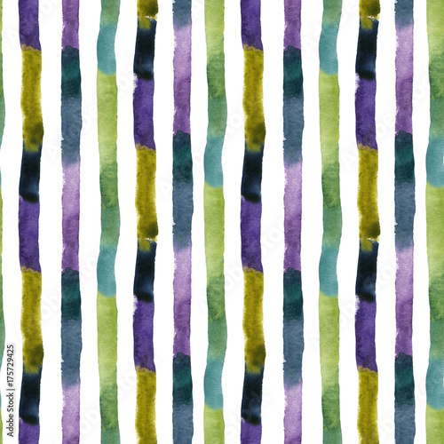 Materiał do szycia Watercolor textured colorful stripes seamless pattern. Abstract background, vertically orientated. Hand painted water color brush stroke illustration