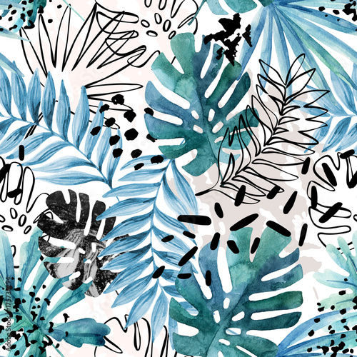Abstract exotic leaves seamless pattern. - 175730294
