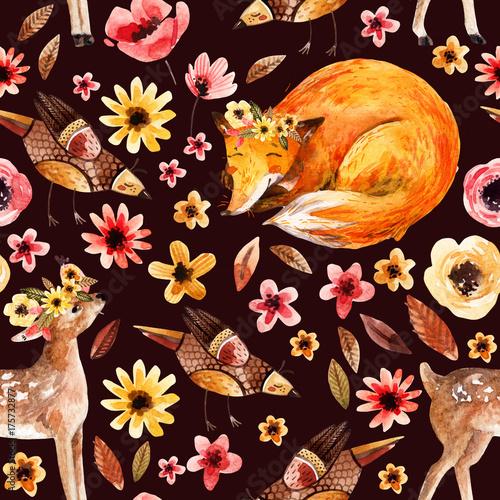 Materiał do szycia Cute zwierząt akwarela na tle kwiatów.