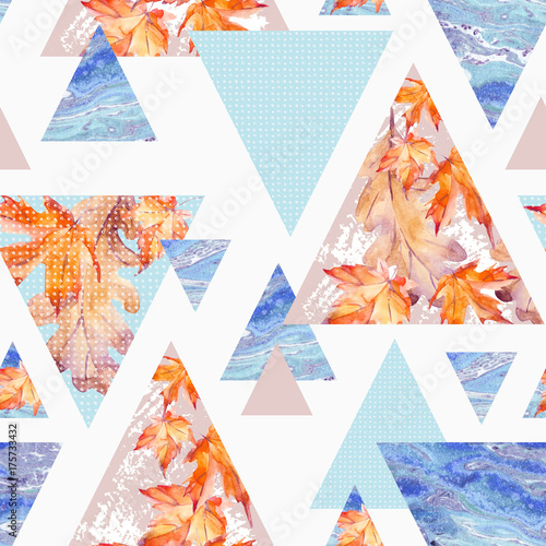 Abstract geometric background in retro vintage 80s 90s pop art. - 175733432