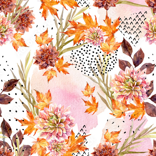 Autumn watercolor floral seamless pattern. - 175734028