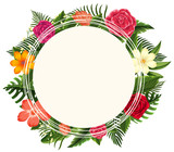 Round frame with different types of flowers - 175736035