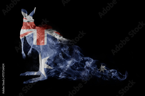 Aluminium Kangoeroe Kangaroo in the colors of the australian flag animal kingdom collection with amazing effect
