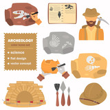 Archeology color flat icons set for web and mobile design - 175737428