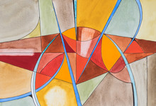 "Постер, картина, фотообои ""An abstract watercolour painting; Fractured theme, warm colours."""