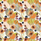 Abstract floral and geometric seamless pattern.