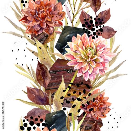 Autumn watercolor floral arrangement - 175743410