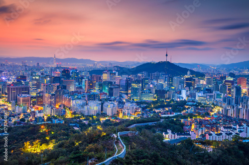 Seoul. Cityscape image of Seoul downtown during summer sunrise. Poster