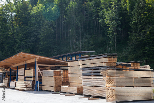 Sawmill storage of wooden planks