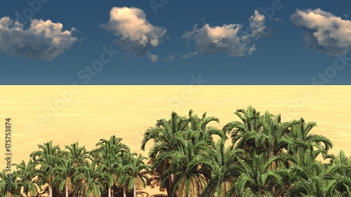 Fotobehang Zwavel geel Beautiful natural background -African oasis 3d rendering