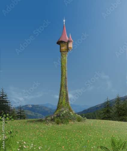 Enchanted Rapunzel Tower in Forest - 175762663