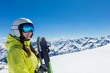 Quadro Happy young woman skier enjoying sunny weather in Alps